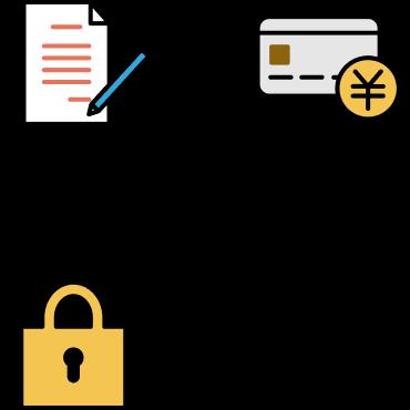 途中解約OK、カード払い手数料無料、お客様の情報を暗号化
